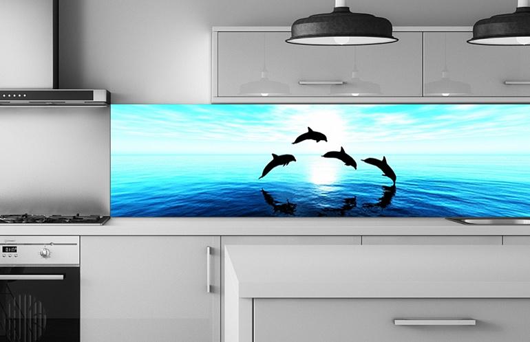 Скинали Дельфины в море на закате SK-000423 купить в Москве